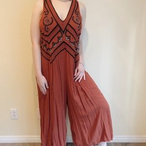 Anthropologie embroidered jumpsuit